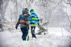 Children playing in the snow, Ukraine, Mukachevo. December 2016 Royalty Free Stock Photography