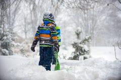 Children playing in the snow, Ukraine, Mukachevo,. December 2016 Stock Photo