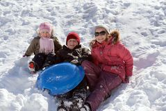 Children playing in snow. At winter vacation Stock Image