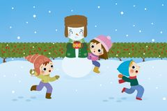 Children playing Snowball fight illustration