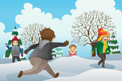Children Playing Snowballs Royalty Free Stock Photo