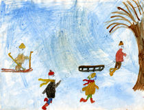 Children playing snowballs. Skiing and riding in a sledge. Watercolor picture made by child Stock Photos