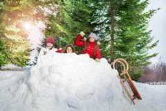 Children playing snowballs in winter forest Royalty Free Stock Photos