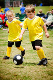 Children playing soccer. In organized youth game Stock Image
