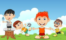 Children playing soccer, eating ice cream, running in the park cartoon Stock Photo