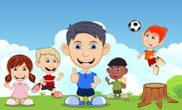 Children playing soccer, eating ice cream, running, in the park cartoon vector illustration Royalty Free Stock Photography
