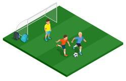 Children playing soccer outdoors. Flat 3d vector isometric illustration. Children playing soccer outdoors. Flat 3d vector isometric illustration Stock Photo