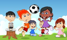 Children playing soccer in the park cartoon vector illustration Royalty Free Stock Photos