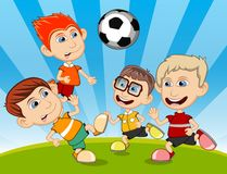 Children playing soccer in the park cartoon vector illustration Royalty Free Stock Photo
