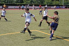 Children playing soccer in summer in an outdoor grass arena Stock Photography
