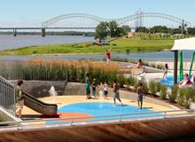 Children Playing in a Splash Area at the Beale Street Landing Memphis, Tennessee Stock Photos