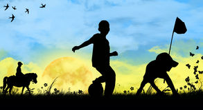 Children playing sports Stock Photo