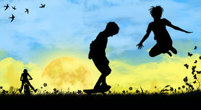 Children playing sports Stock Images