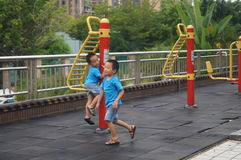 Children playing sports facilities Royalty Free Stock Photo