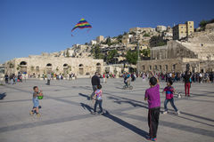 Children playing on square in Jordan capital of Amman Royalty Free Stock Photos