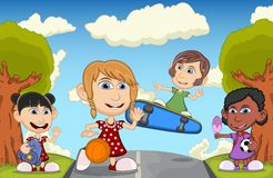 Children playing at the street cartoon vector illustration Royalty Free Stock Image
