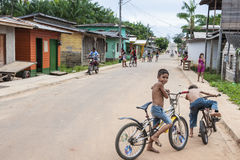 Children playing in a street of Gurupa, Brazil Stock Photography