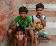 Children playing on street in Varanasi, India Stock Images