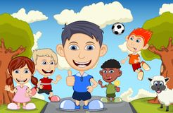 Children playing at the street waving their hand and heading the ball with sheep cartoon Royalty Free Stock Images