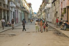 Children playing in streets of old street in Havana, Cuba Royalty Free Stock Photos