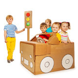 Children playing and studying traffic regulations Stock Photo