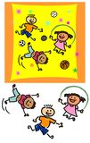 Children playing. With a suggested composition and background. Also separated on white background. Informal style of drawing, childlike Stock Photos