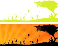 Children Playing in the Sun Header. Vector Illustration of Happy Children Playing in the Sun Header Royalty Free Stock Image