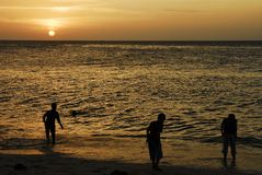 Children playing at sunset, Zanzibar Stock Photography