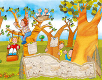 Children playing on the swings and hide and seek.  Royalty Free Stock Image