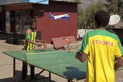 Children playing table tennis, Ethiopia Stock Photography