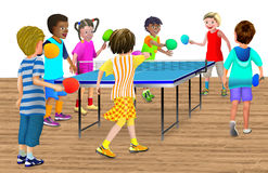 7 children playing a table tennis game. 7 children having fun running around around the ping pong table, taking turns hitting the ball Stock Photos
