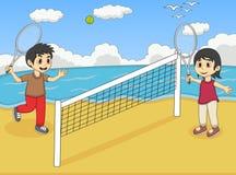 Children playing tennis on the beach cartoon Royalty Free Stock Photos