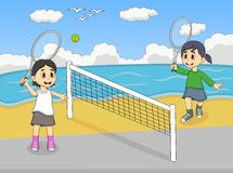 Children playing tennis on the beach cartoon Royalty Free Stock Photography