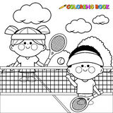 Children playing tennis. Black and white coloring book page Stock Photo