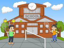 Children playing tennis in front of school cartoon Stock Photography