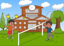 Children playing tennis in front of school cartoon Royalty Free Stock Photo