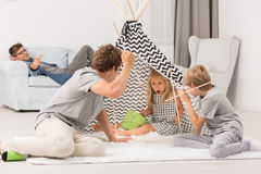 Children playing in tent Royalty Free Stock Photos
