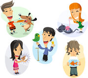 Children playing with their pets set Stock Photo