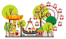 Children playing in the theme park. Illustration royalty free illustration