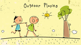 Children playing together outdoors, dancing. Children, group of kids, dancing together outdoors in nature, singing and having fun. Vector illustration, doodle Royalty Free Stock Photo