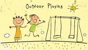 Children playing together outdoors, jumping. Children, group of kids, playing together outdoors in nature, dancing and singing and having fun. Vector Stock Images
