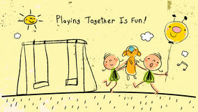 Children playing together outdoors, singing. Children, group of kids, playing together with a toy and a balloon, outdoors in park, singing and having fun royalty free illustration
