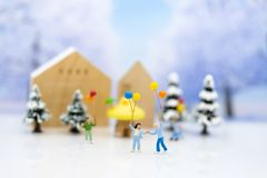 Children playing together in the winter season. Image use for holiday festival.  stock photography