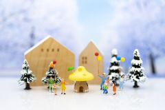 Children playing together in the winter season. Image use for holiday festival.  royalty free stock photos