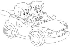 Children playing in a toy sports car stock illustration