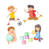Children little boys girls playing toy games vector flat icons set. Children playing toys and games. Young girl child with alphabet blocks, boys play football royalty free illustration