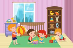Children playing with toys in playroom of kindergarten vector illustration