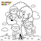 Children playing on a tree coloring book page. Vector Illustration of children playing and climbing on a tree. Coloring book page Stock Photography