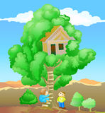 Children playing tree house Stock Image