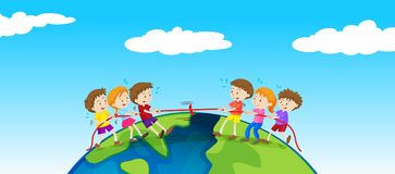 Children playing tug of war on earth. Illustration Stock Photography